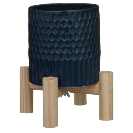 345652-navy-plant-pot-with-wooden-legs