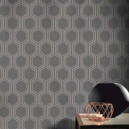 345765-luxe-hexagon-gunmetal-silver-wallpaper