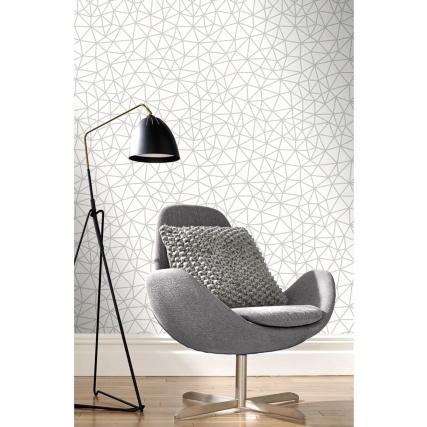 345878-rasch-netz-geo-silver-wallpaper