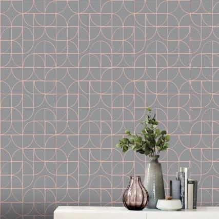 345882-rasch-retro-geo-charcoal-rose-gold-wallpaper