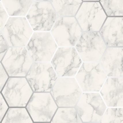 345894-fine-decor-metro-hex-marble-silver-wallpaper