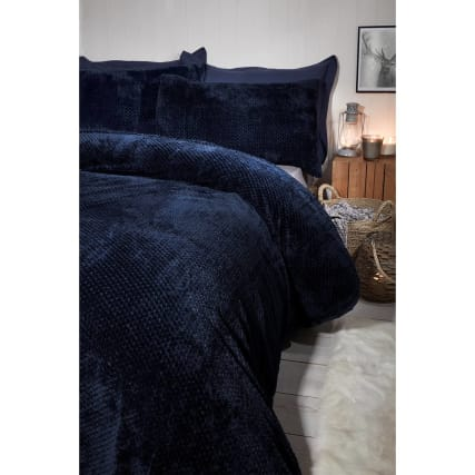 Waffle Fleece King Size Duvet Set   Navy by B&M
