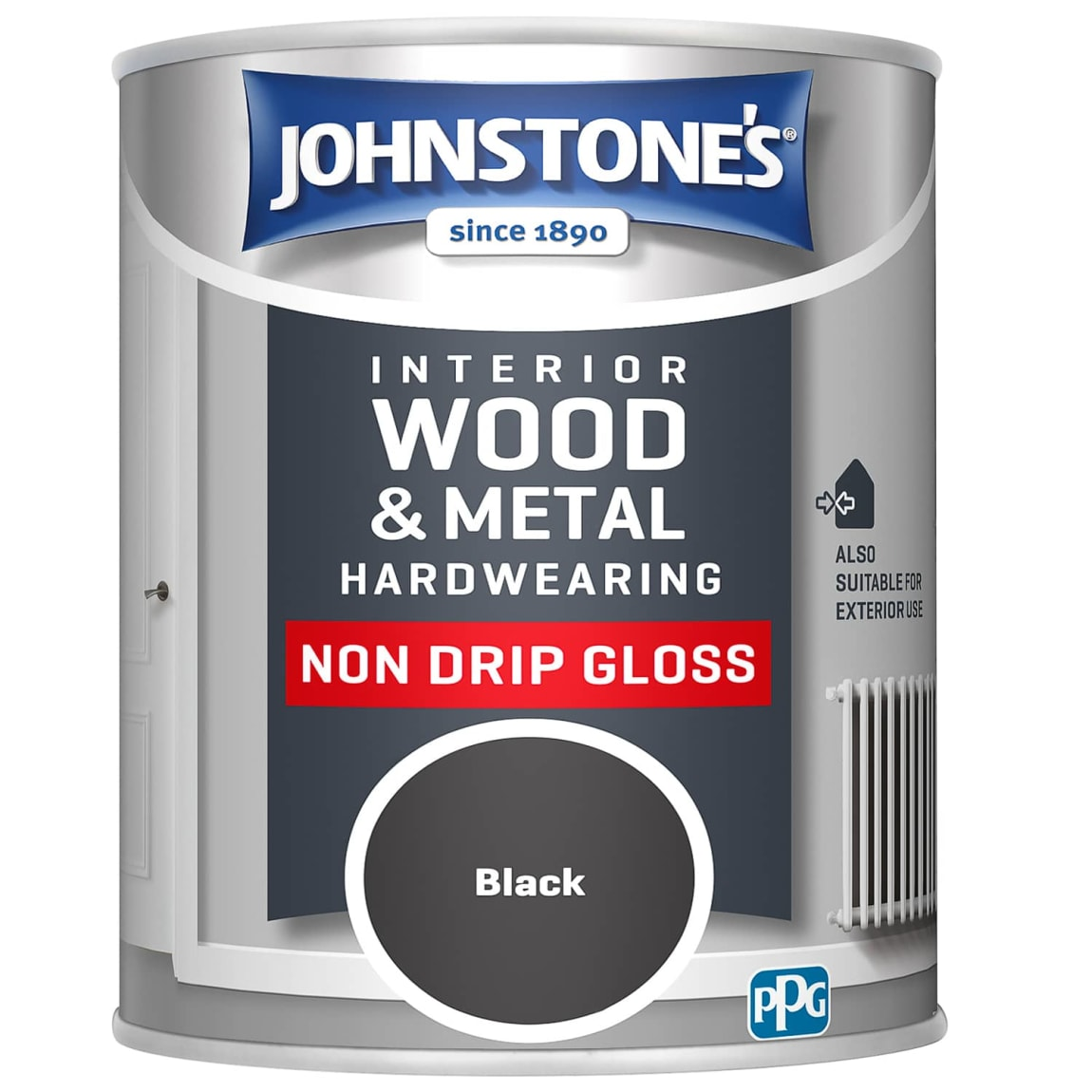 Johnstone's Hardwearing Non Drip Gloss Paint 750ml - Black