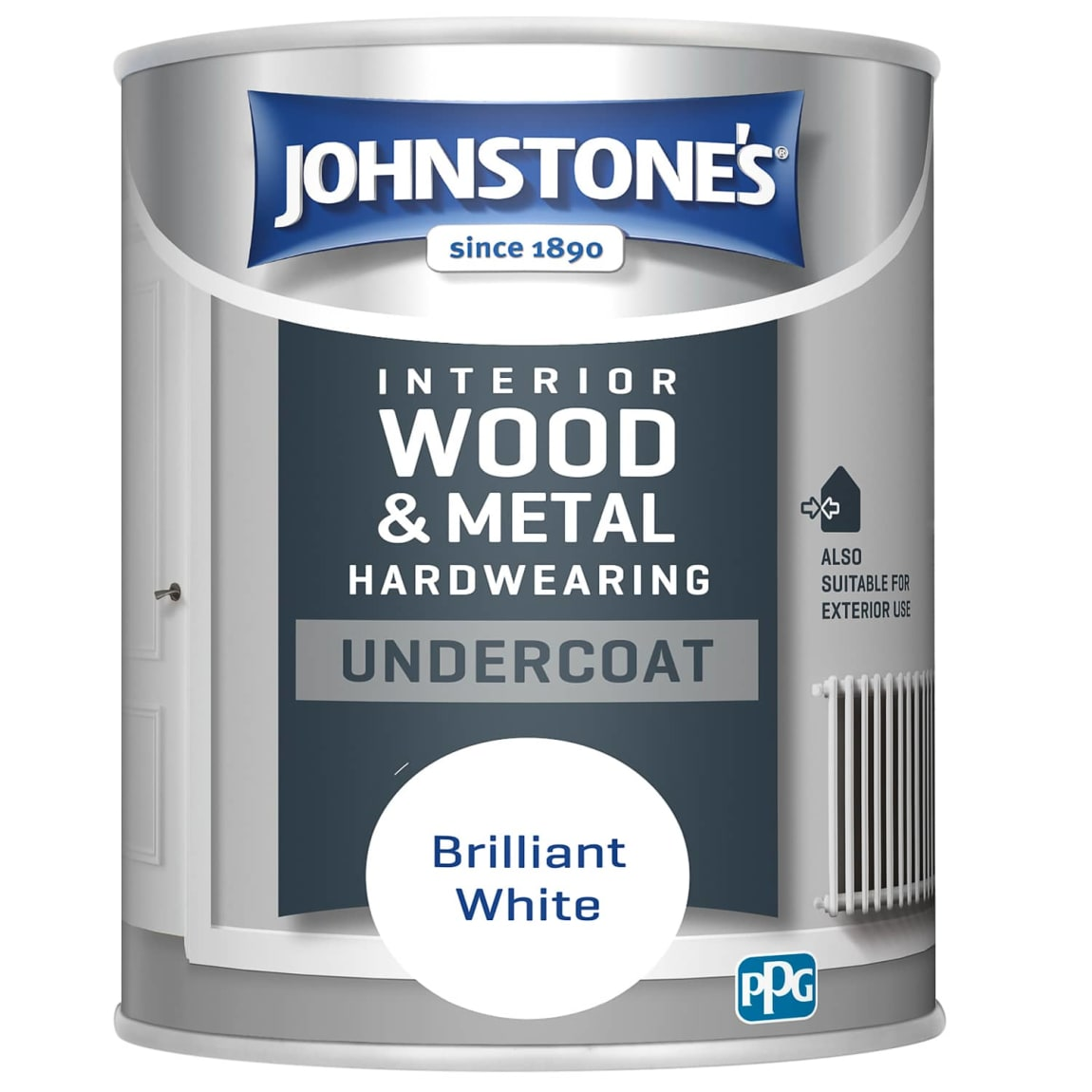 Johnstone's Hardwearing Undercoat Paint 750ml - Brilliant White