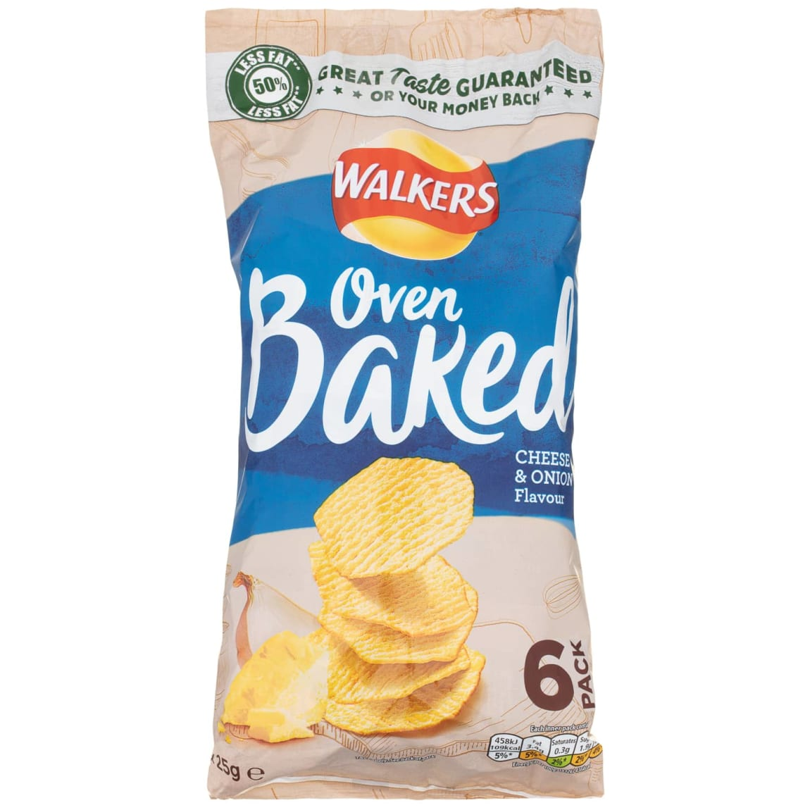 Walkers Oven Baked Crisps 6pk - Cheese & Onion