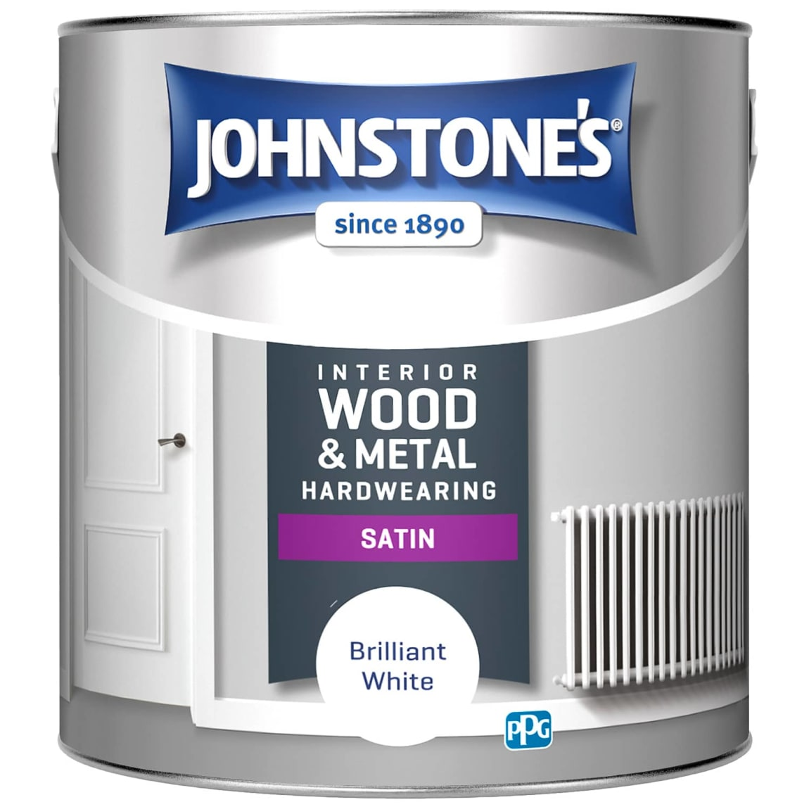 Johnstone's Hardwearing Satin Paint 2.5L - Brilliant White