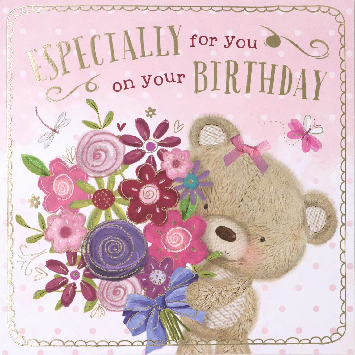 Millie Bear Flowers Birthday Card
