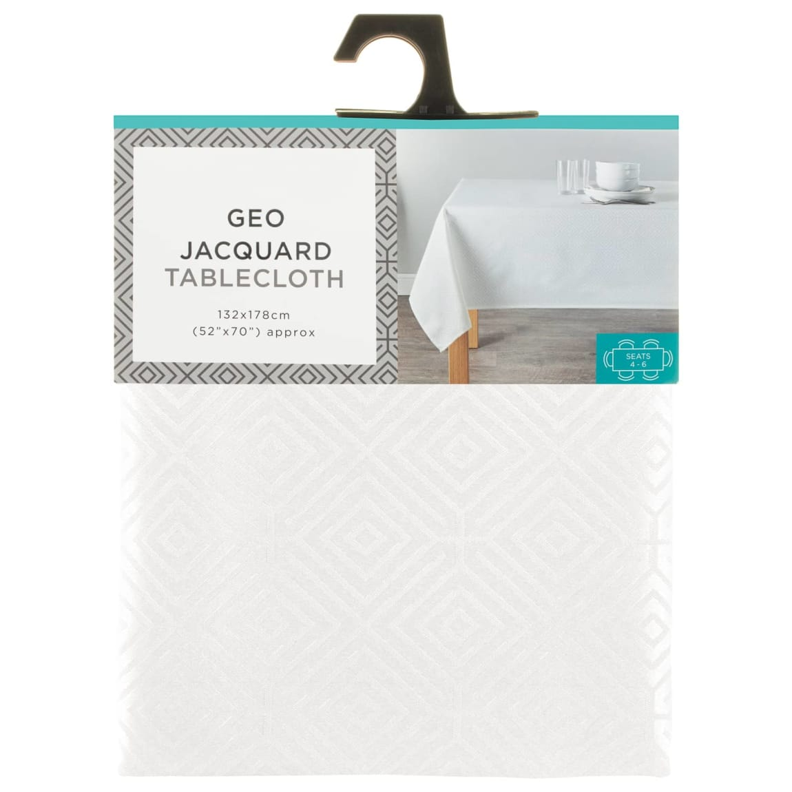 Geo Jacquard Tablecloth 132 x 178cm - White