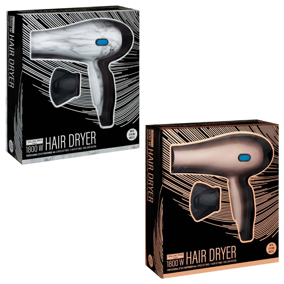 Salon Pro Large Hairdryer 1800W - Marble