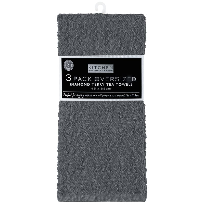 Geo Sculptured Tea Towels 3pk - Charcoal