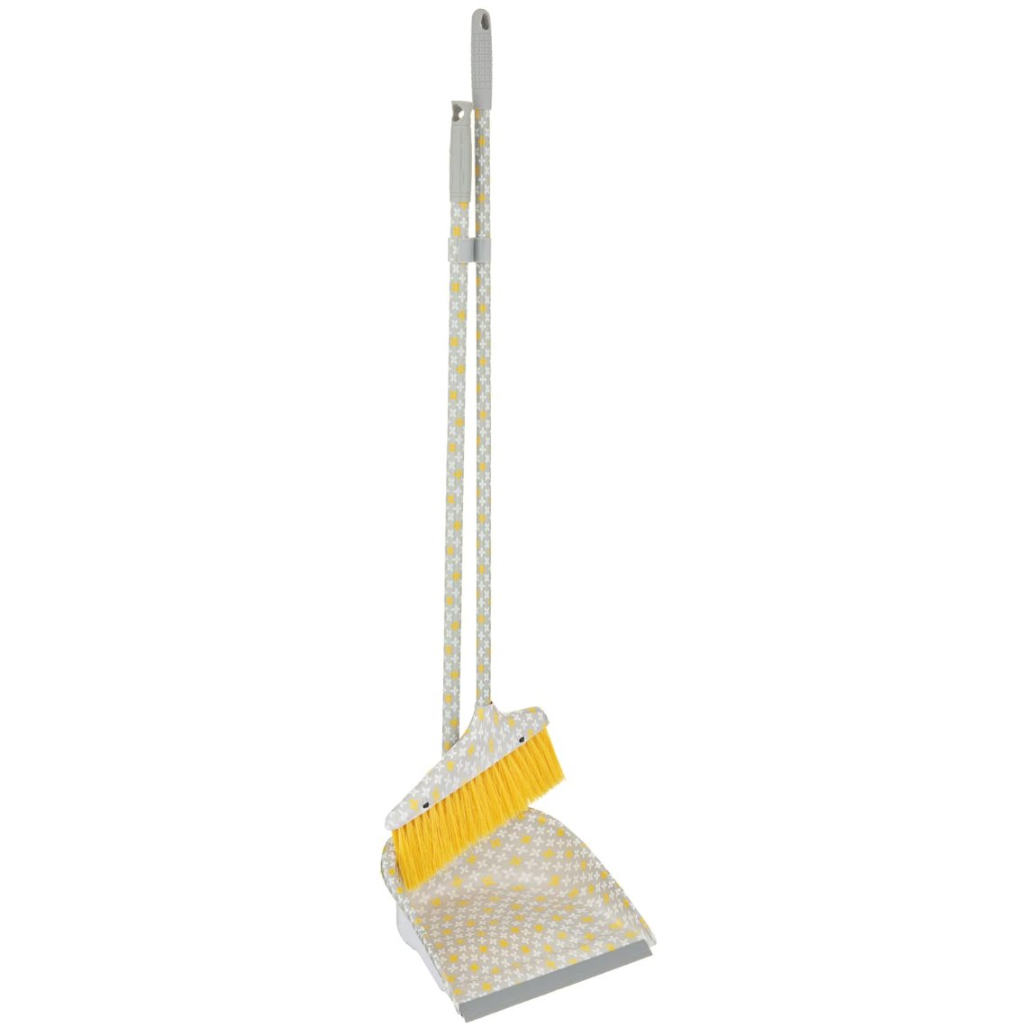Dustpan & Brush with Printed Handle - Yellow Geo