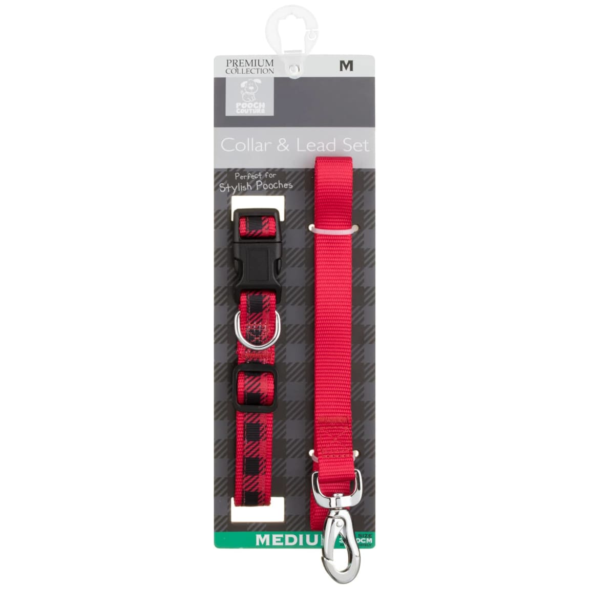 Pooch Couture Dog Collar & Lead Set - Red Check