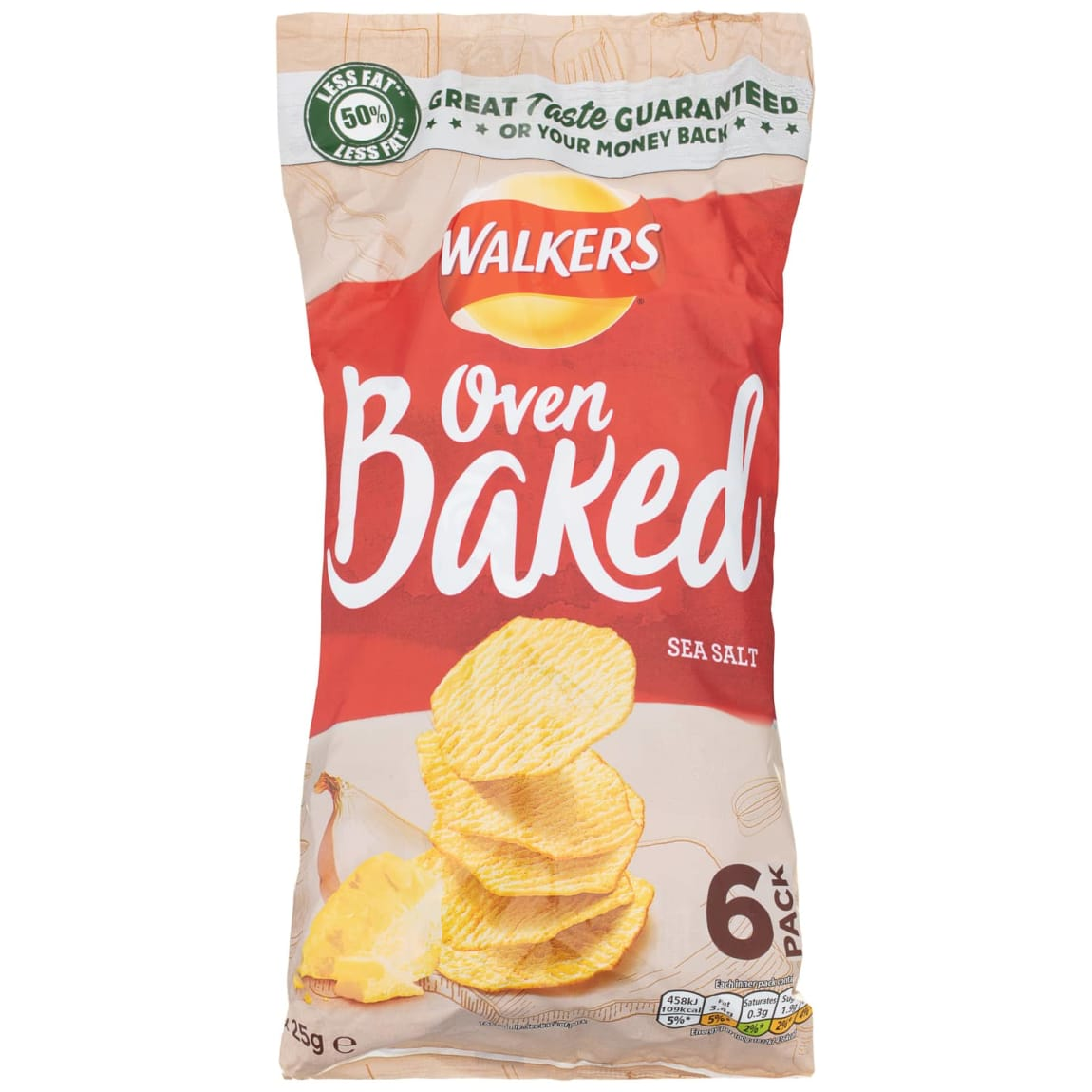 Walkers Oven Baked Crisps 6pk - Sea Salt