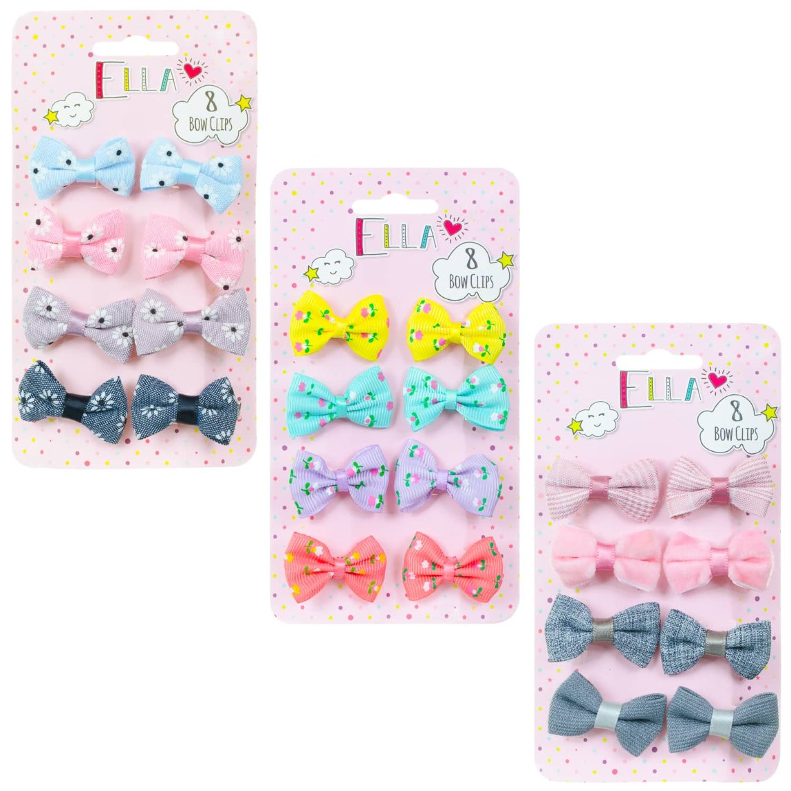 Ella Hair Bow Clips 8pk - Textured