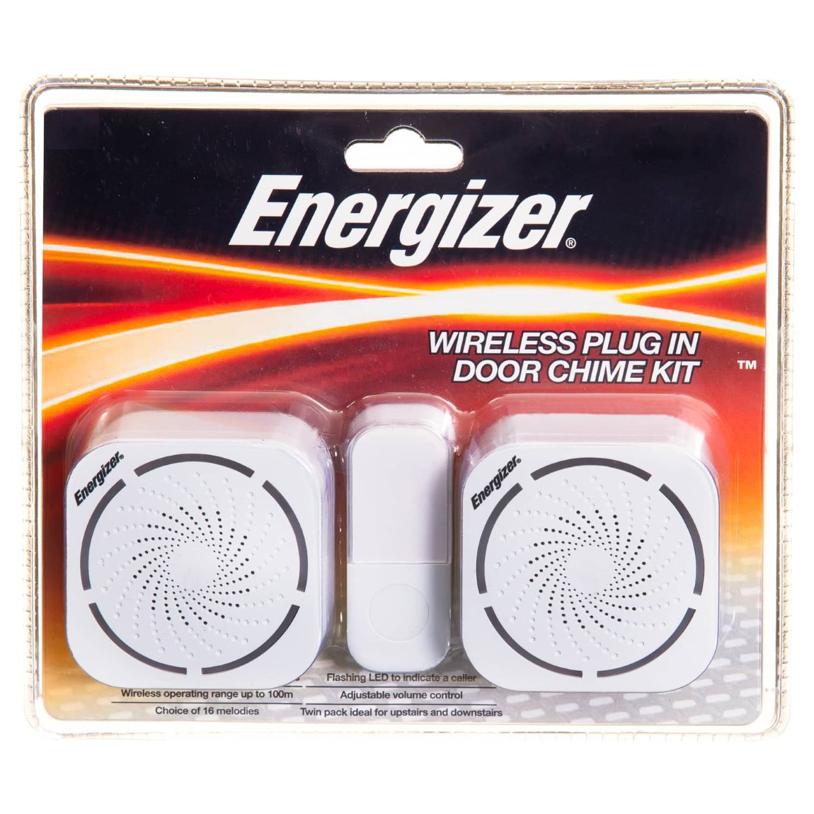 Energizer Wireless Plug In Door Chime Kit 2pk