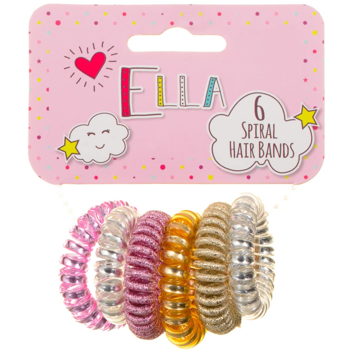 Ella Spiral Hair Bands 6pk - Metallic