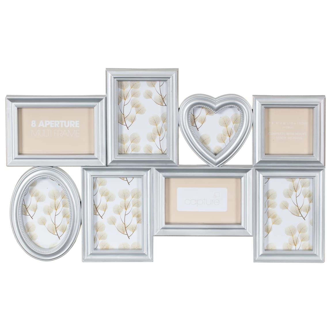 Heart Aperture Photo Frame 8pc - Silver