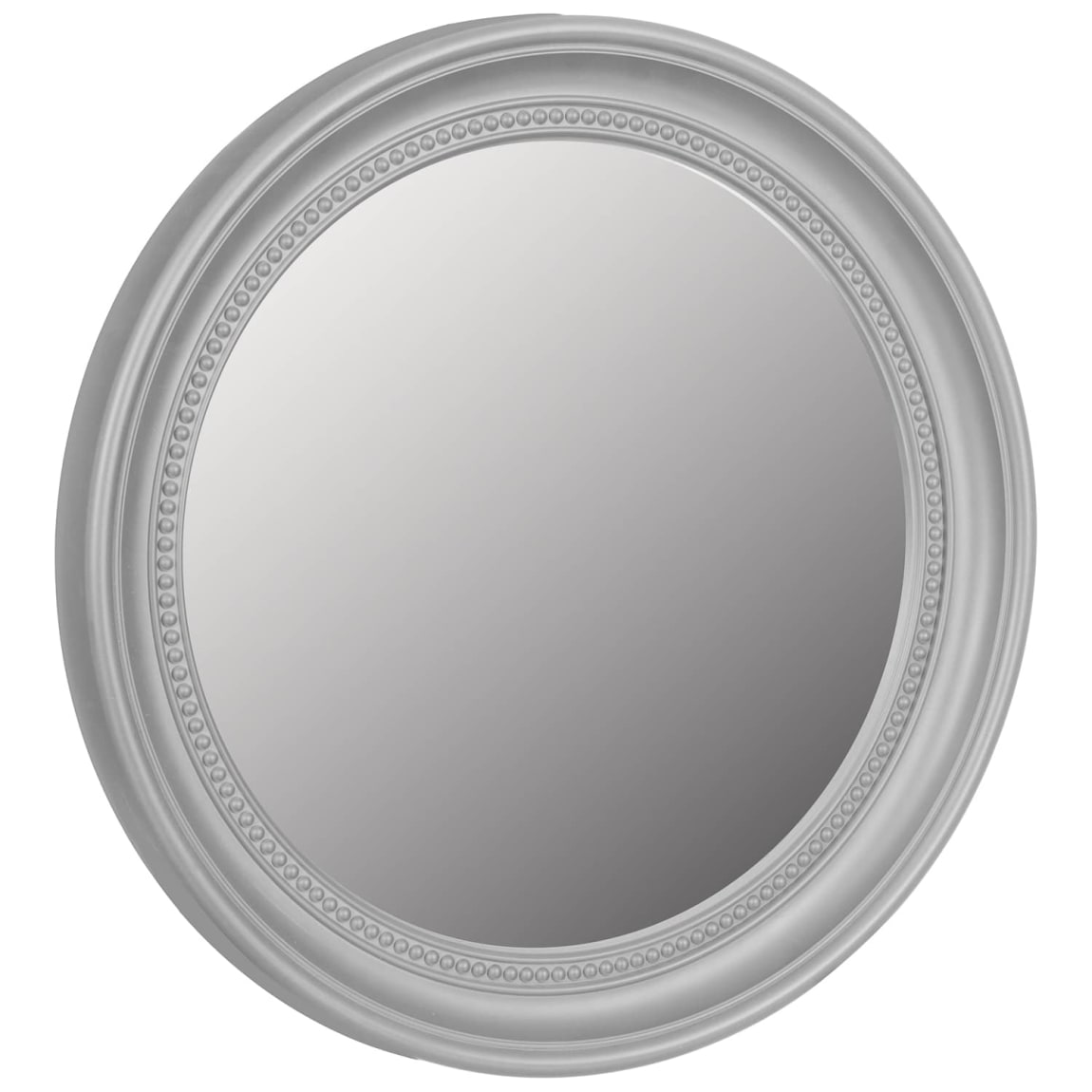 Round Beaded Mirror - Silver