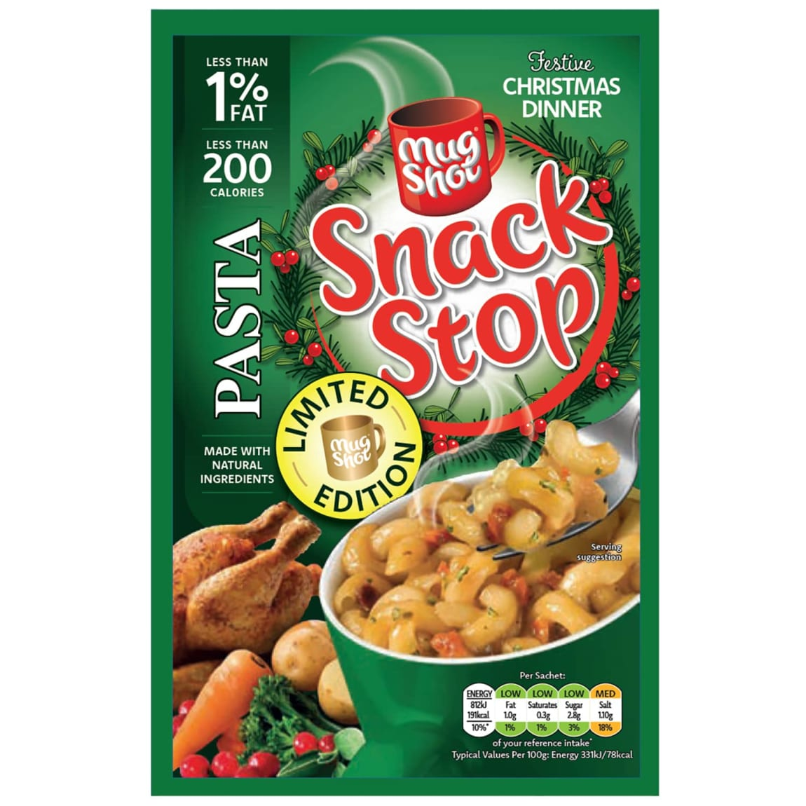 Mug Shot Snack Stop Christmas Dinner Pasta 60g