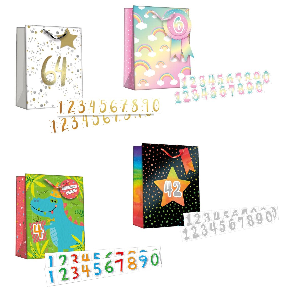Gift Bag with Age Stickers - Black with Stars