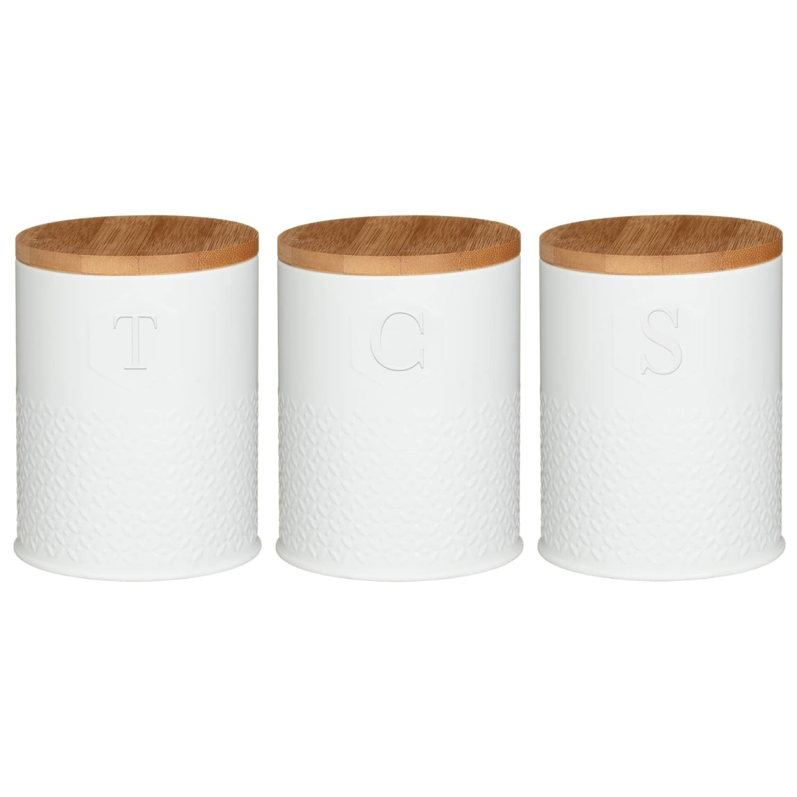 Embossed Knit Effect Kitchen Canisters 3pc