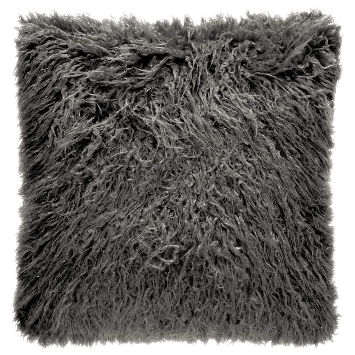 Mongolian Faux Fur Cushion - Charcoal