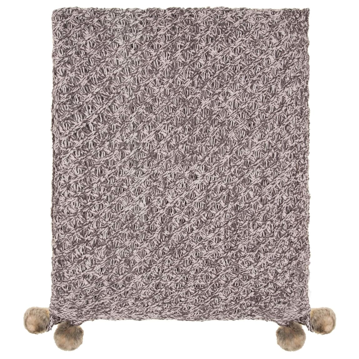 Knitted Faux Fur Pom Pom Throw - Grey