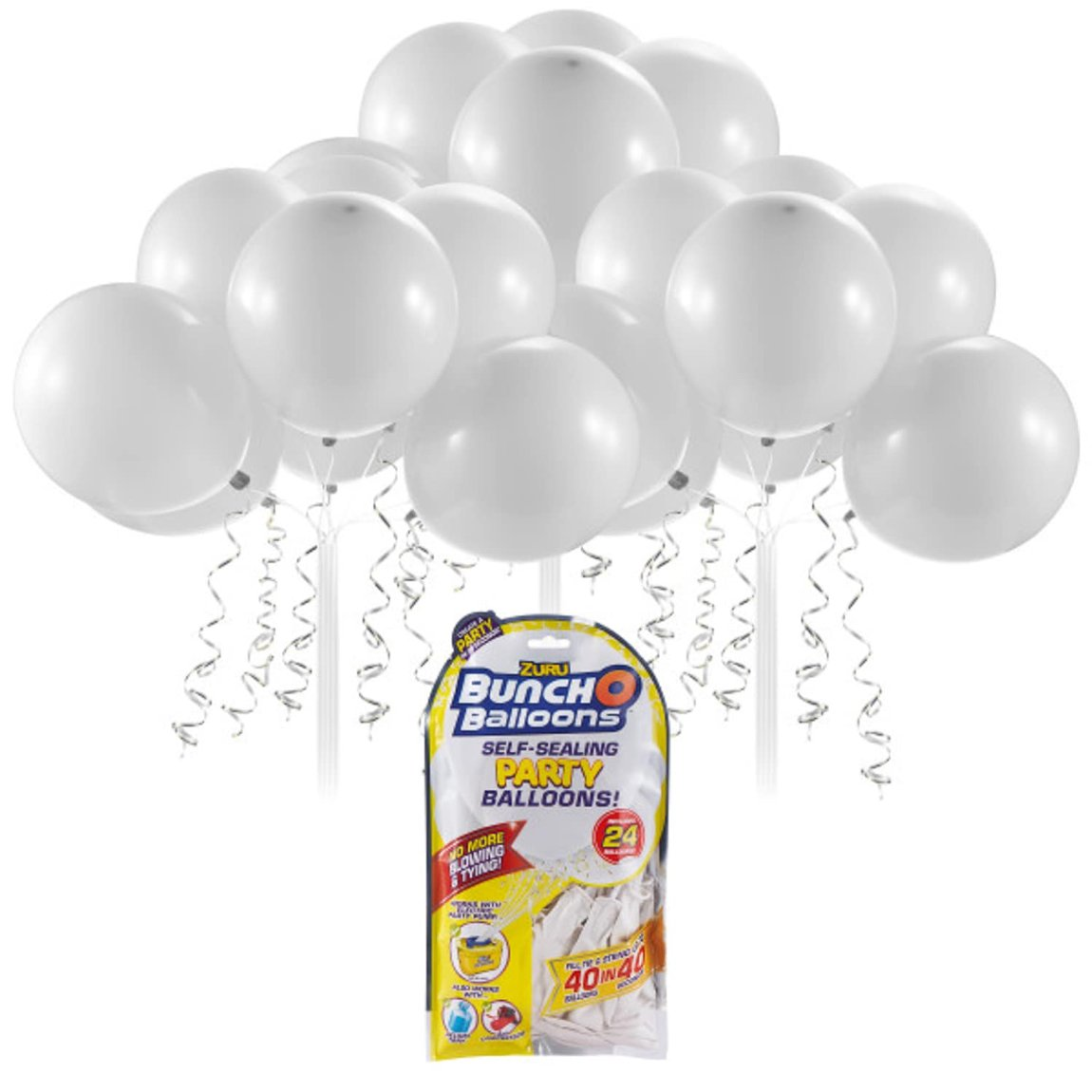 Zuru Self Sealing Party Balloons 24pk - White
