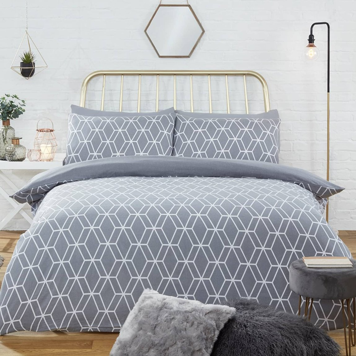 Geo Brushed Cotton Double Duvet Set - Grey