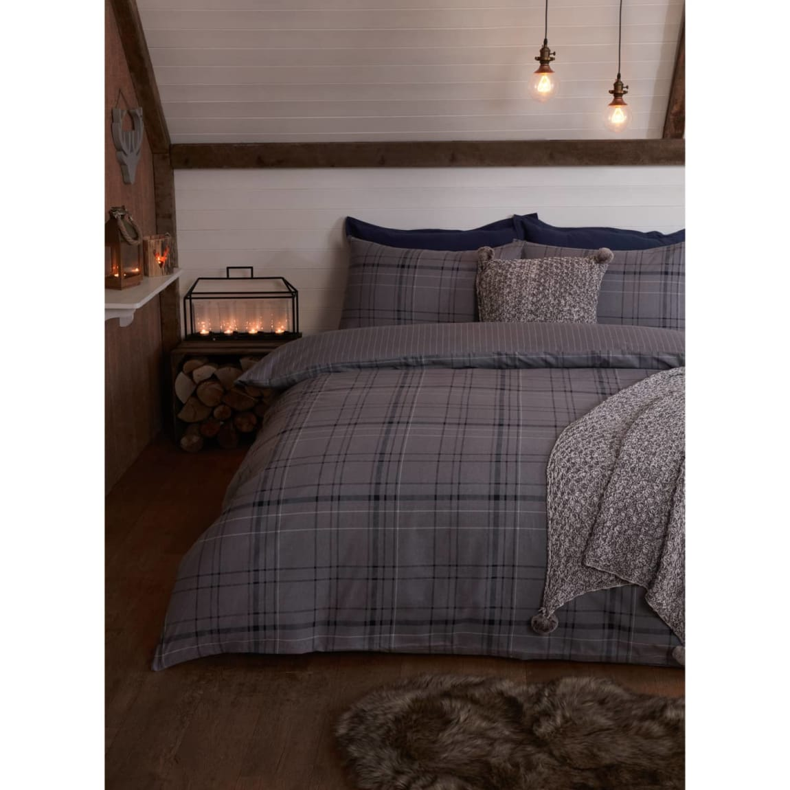 Check Brushed Cotton Double Duvet Set - Navy