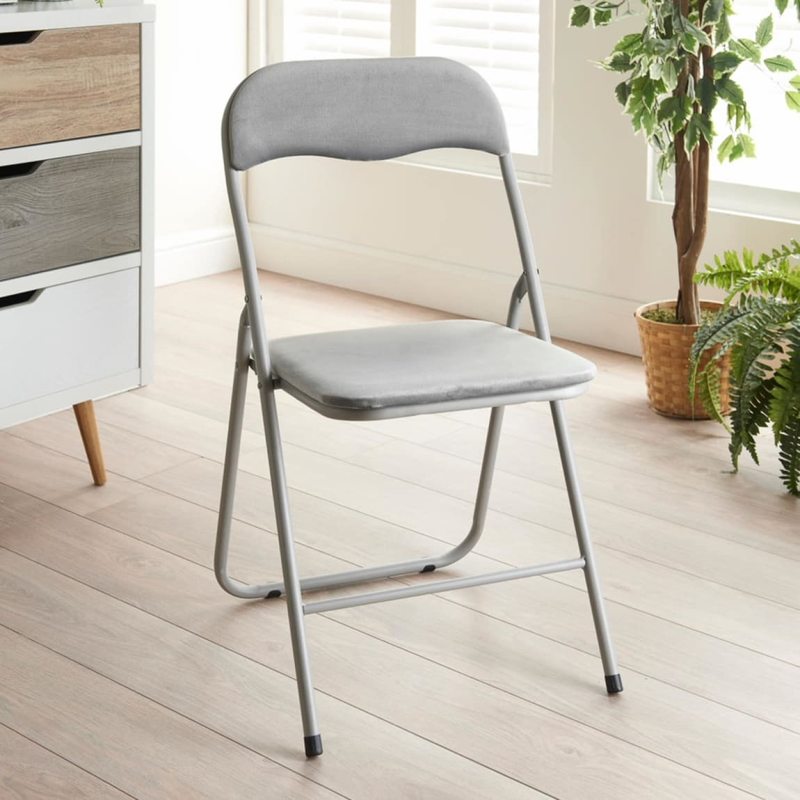 Luxe Velvet Folding Chair - Grey