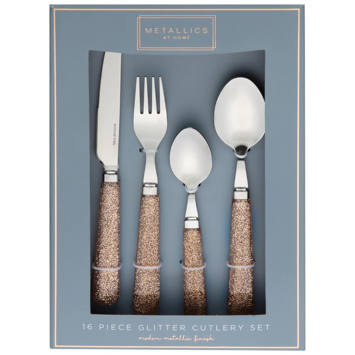 Gold Metallics Glitter Cutlery Set 16pc
