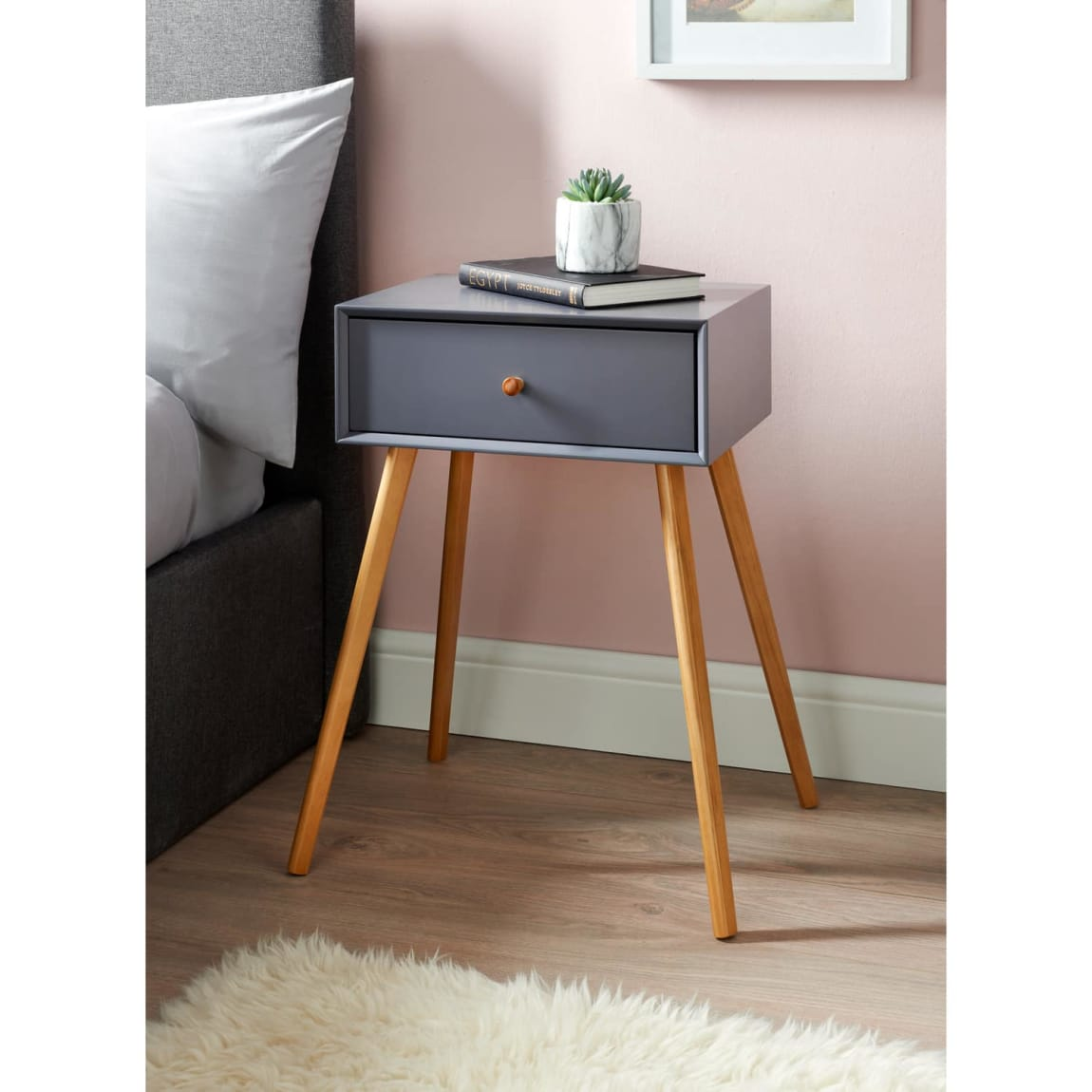 Bjorn Bedside Table - Grey