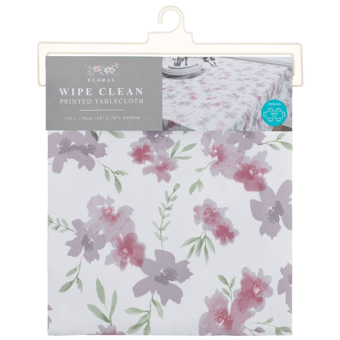 Grey Wipe Clean Printed Tablecloth 132 x 178cm - Floral