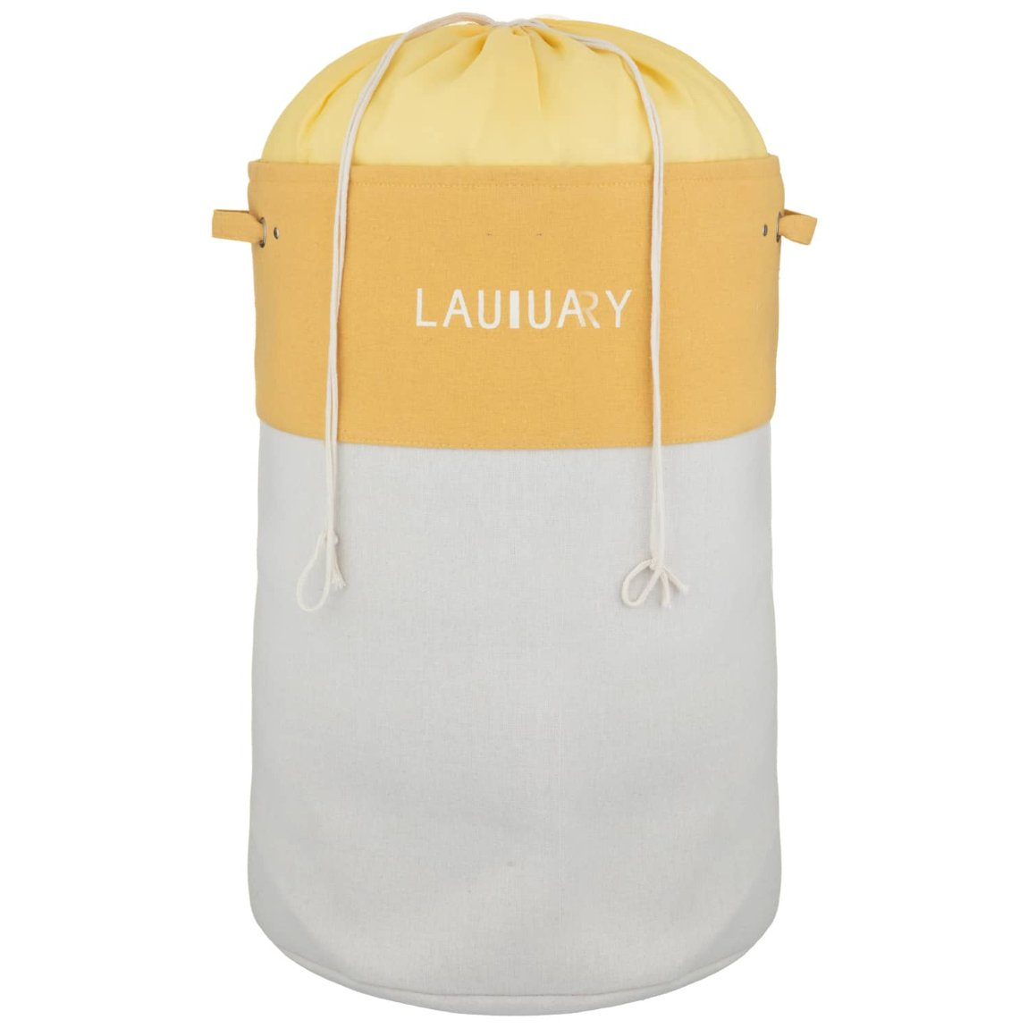 Large 2 Colour Drawstring Laundry Hamper - Ochre