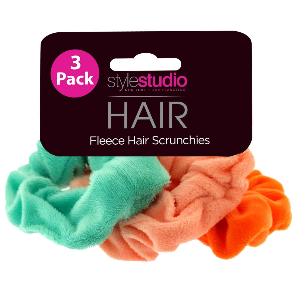 Style Studio Fleece Scrunchies 3pk - Brights