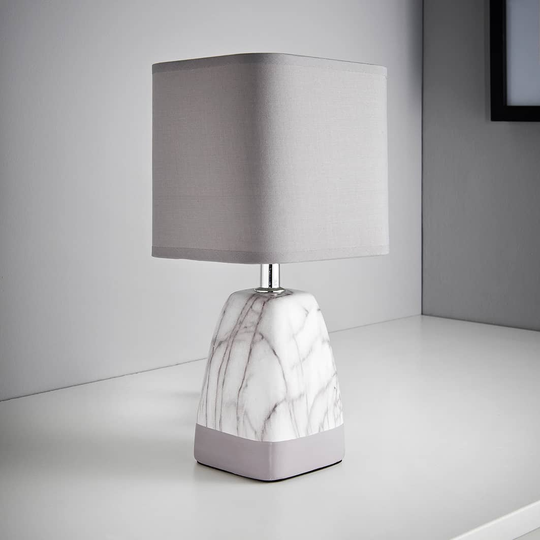 Marble Effect Table Lamp - Light Grey
