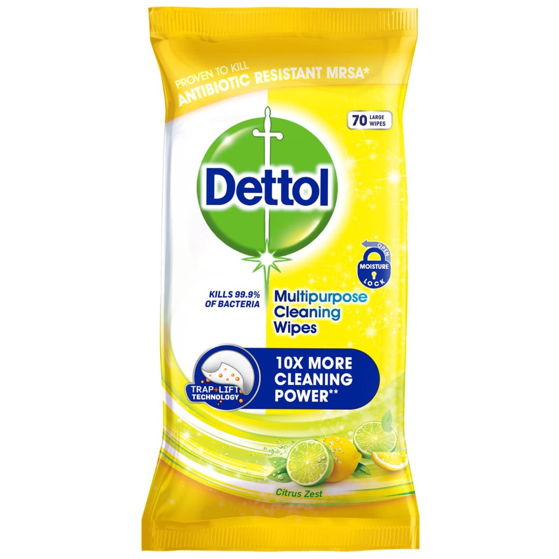 Dettol Multipurpose Cleaning Wipes 70pk - Citrus Zest