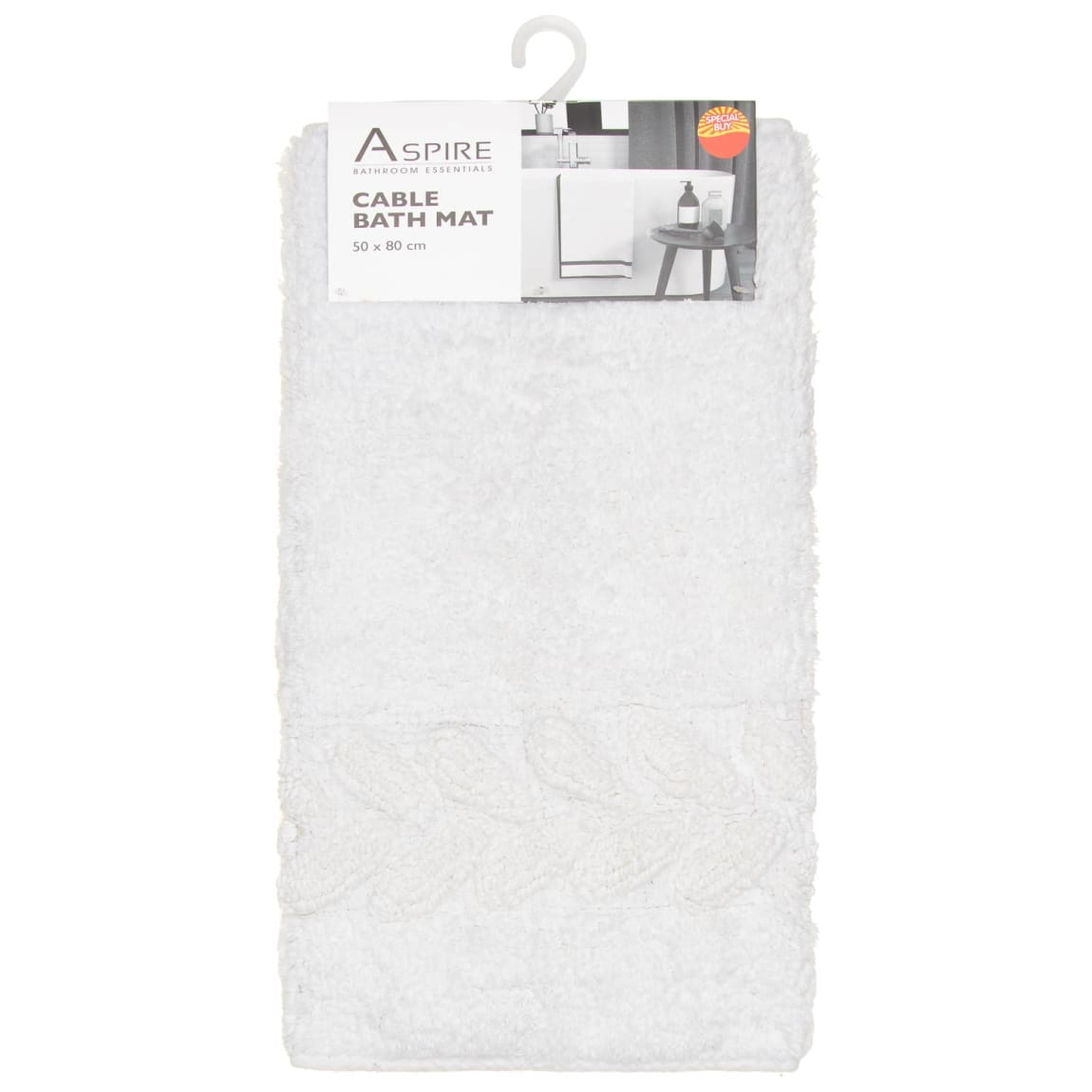 Cable Bath Mat 50 x 80cm - White