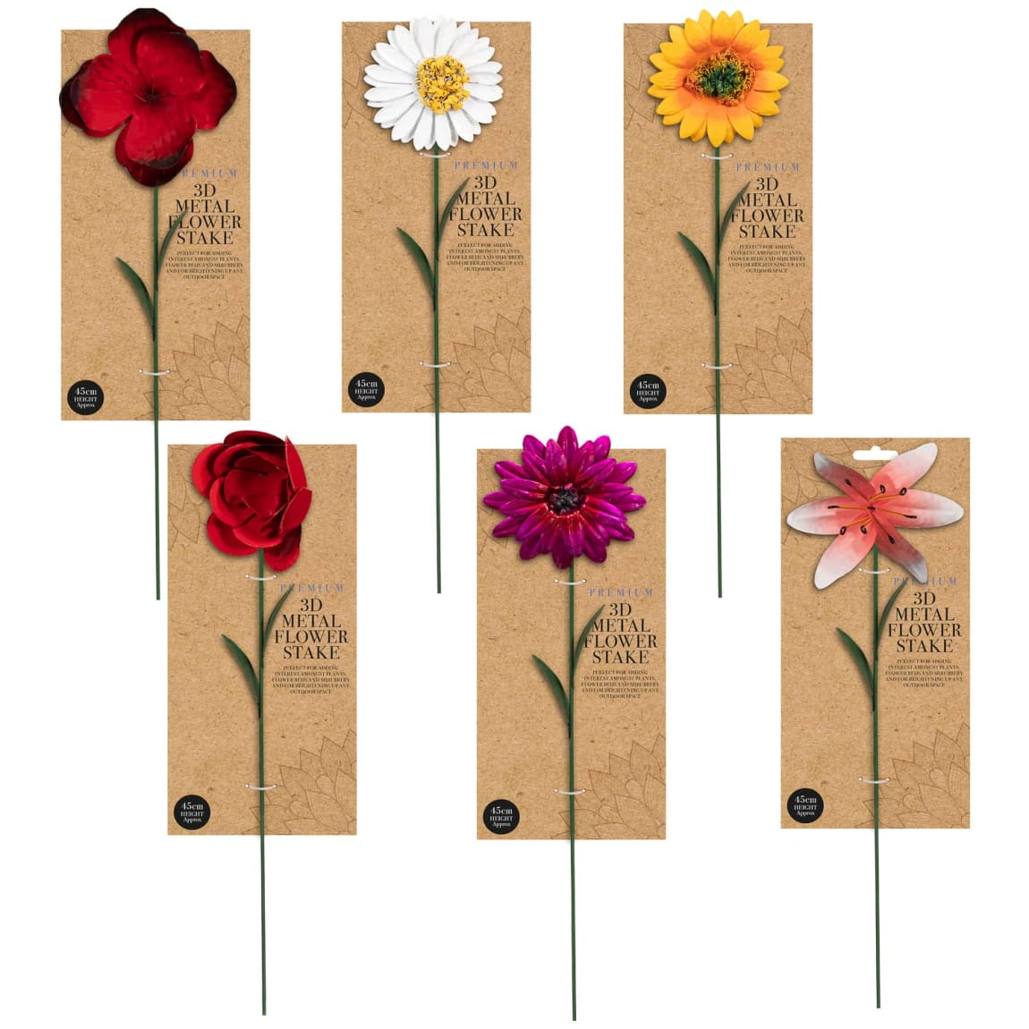 Premium 3D Metal Flower Stake - Rose