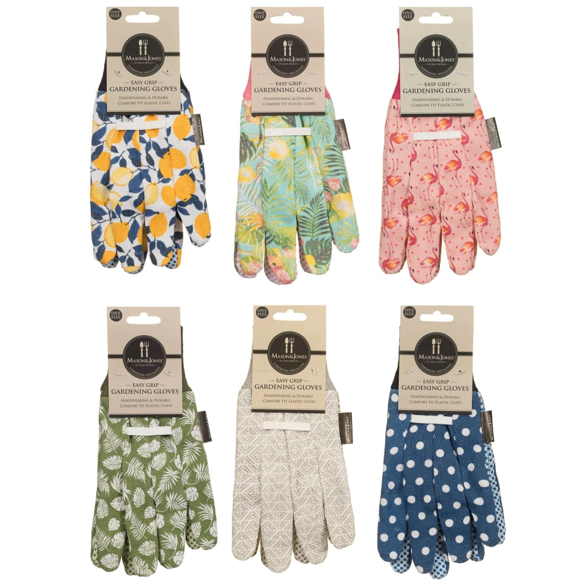 Mason & Jones Easy Grip Gardening Gloves - Flamingos
