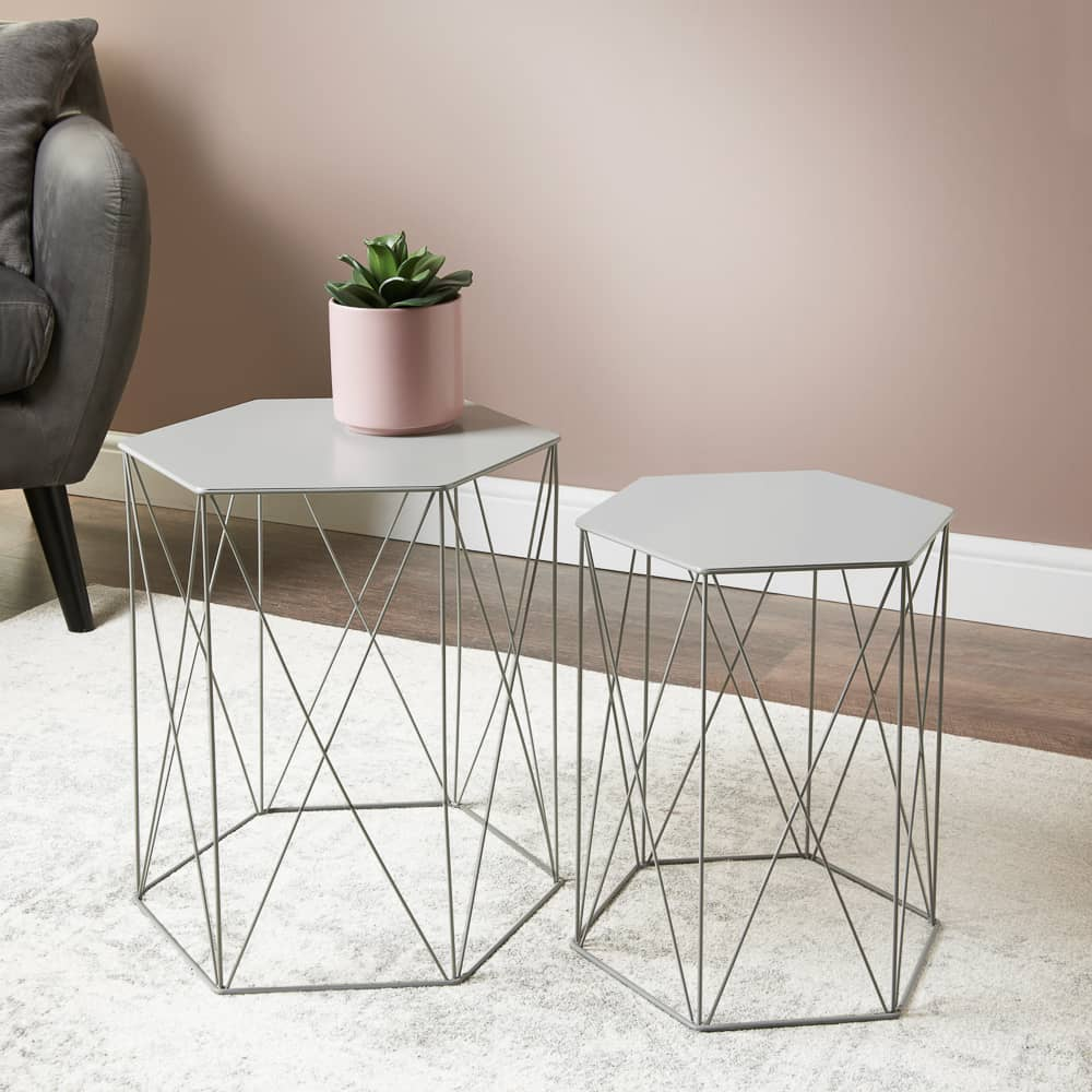 Malvern Set of 2 Hexagon Tables - Grey