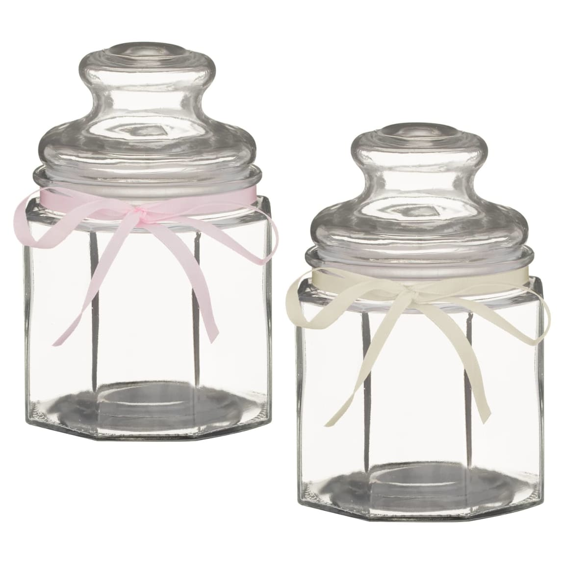 Angular Decorative Jar & Ribbon - White