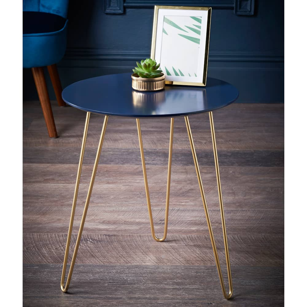 Malvern Side Table - Navy & Gold