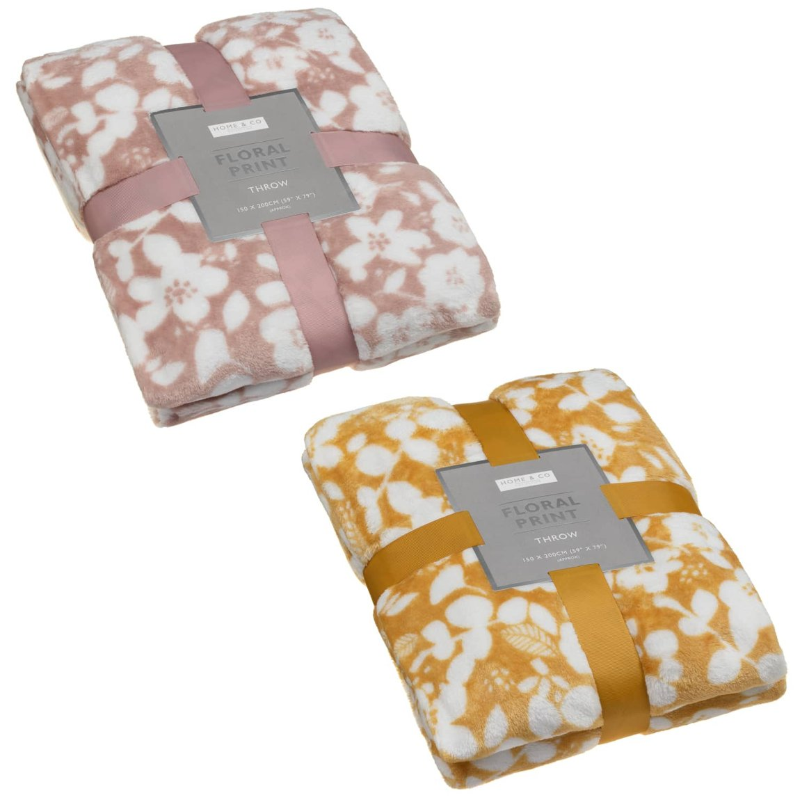 Home & Co Floral Print Throw - Blush