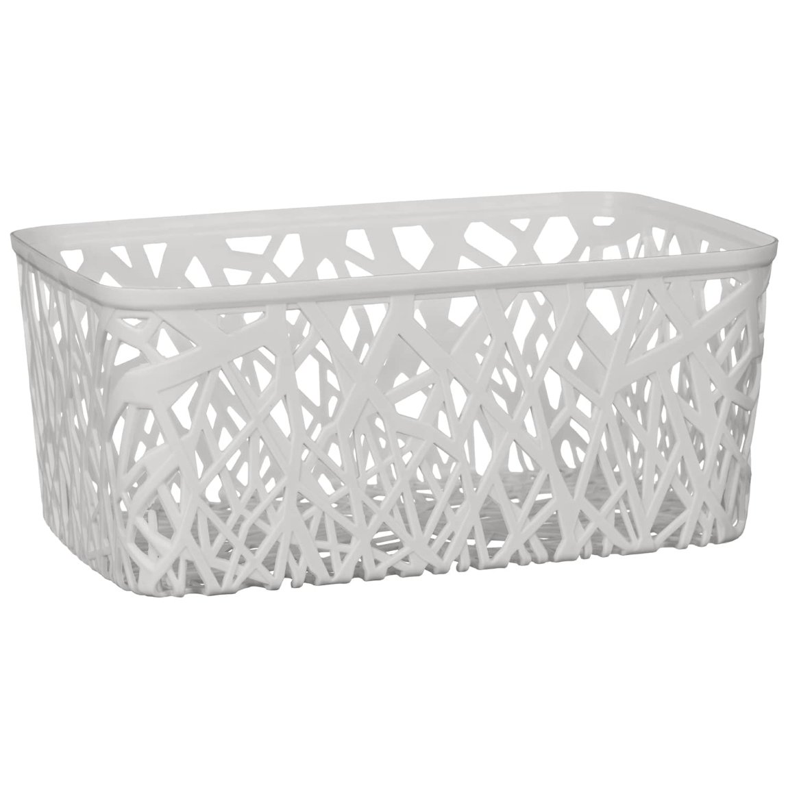 Rectangle Geo Cut Out Storage Basket - Grey