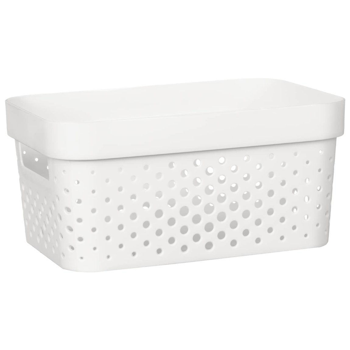 Rectangle Small Spot Storage Basket - White