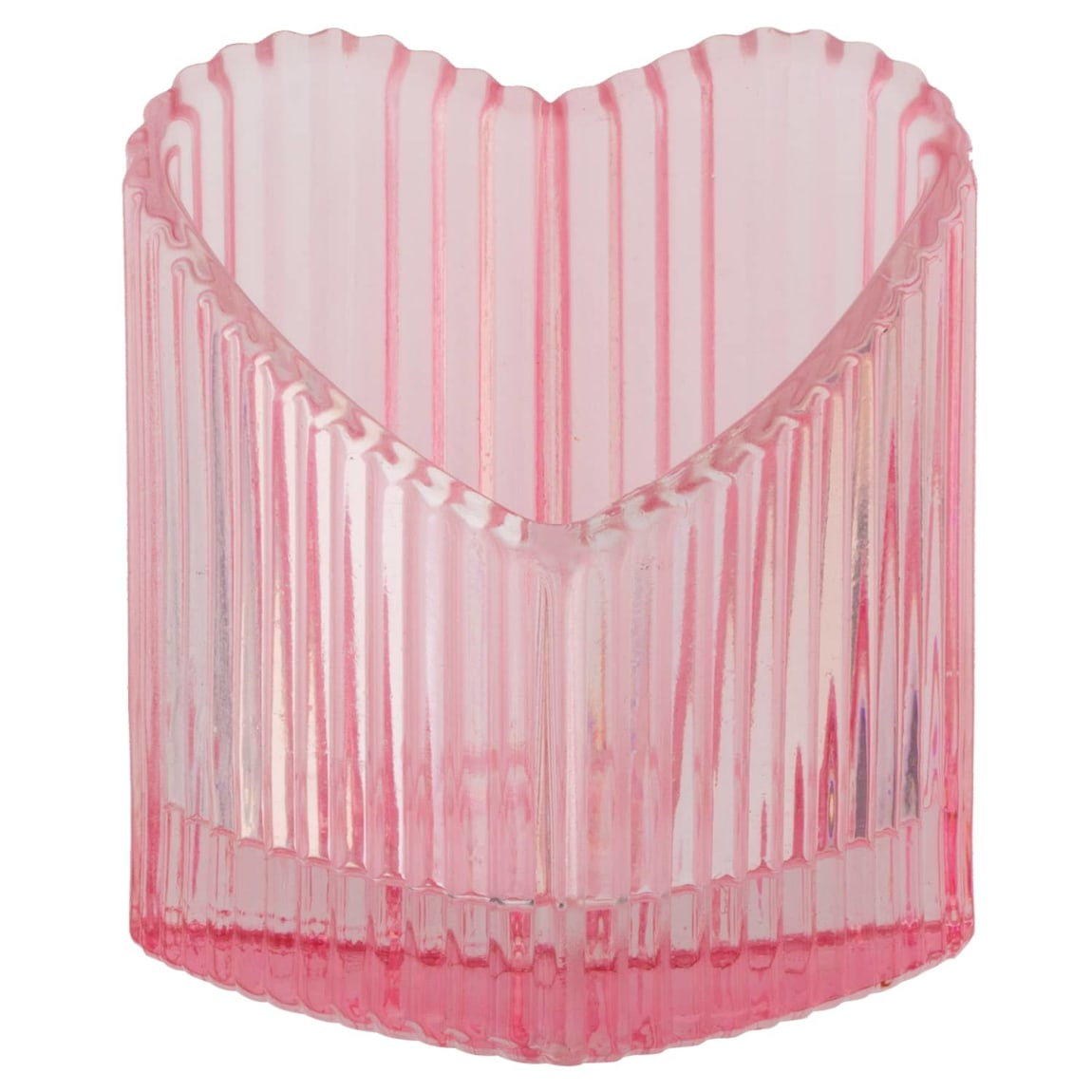 Glass Heart Tealight Candle Holder - Pink