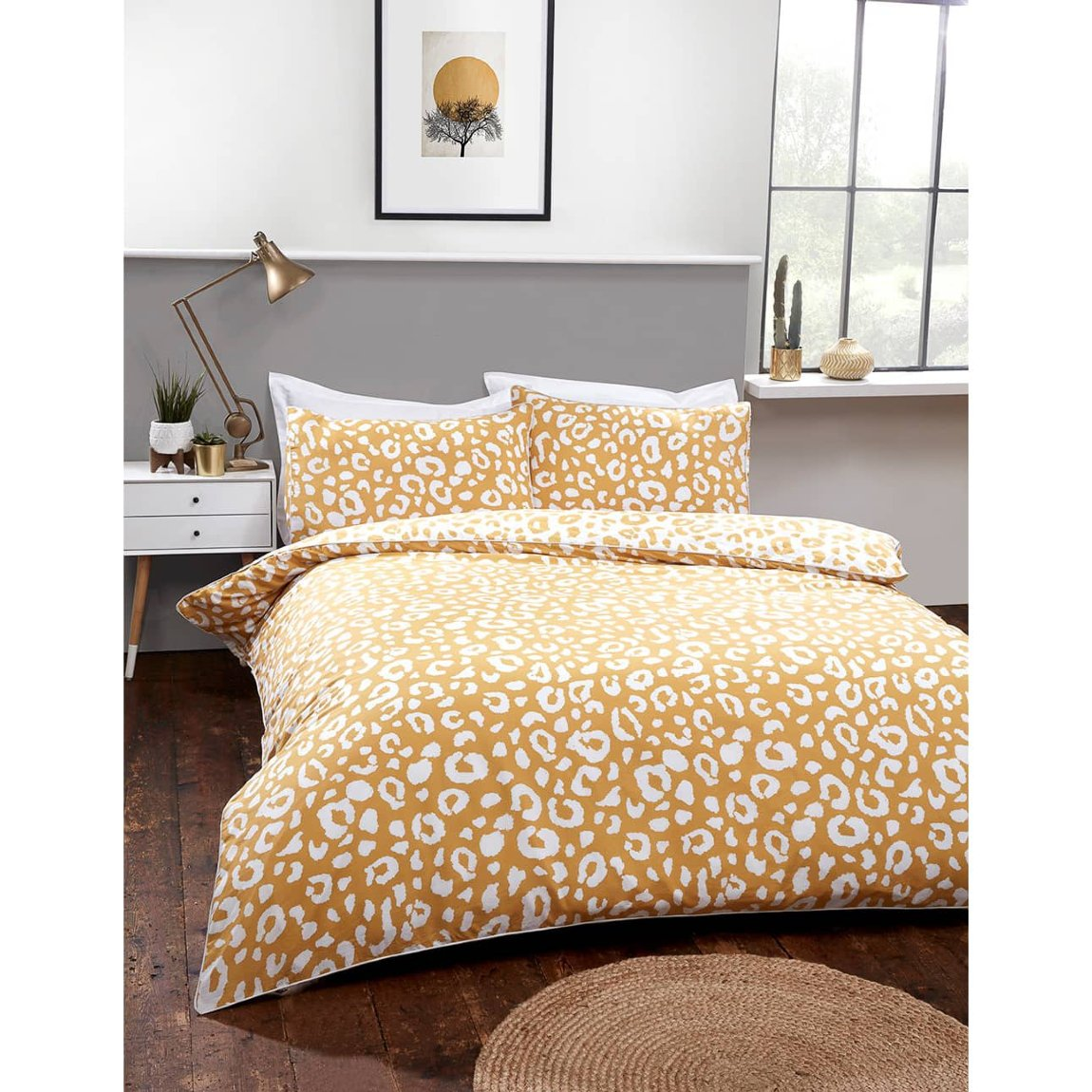 B&M bedding Loft Studio Leopard Double Duvet Set - Ochre