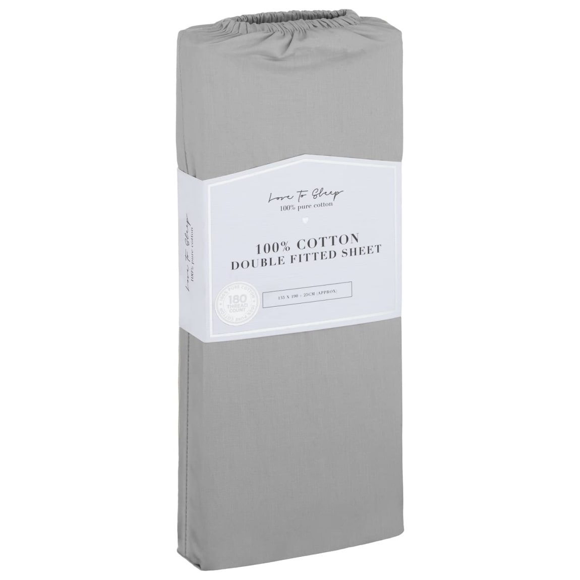Love to Sleep Cotton Double Fitted Sheet - Grey